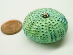 35mm Sea Urchin Bead green blue handmade from polymer clay by Beadcomber for $22.00