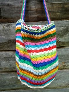 My Rose Valley: Nelly's Stripy Crochet Bag - VOILA Crochet Market Bag Tote Bag Purse Mesh Bag
