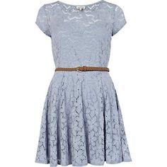 light blue lace belted skater dress - skater dresses - dresses - women - River Island ($20-50) - Svpply
