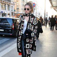 Gigi Hadid Wears Crochet Cardigan in Paris