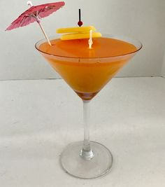Peach Mango Scented High Density Gel Orange Candle in Martini Glass with Pink Umbrella