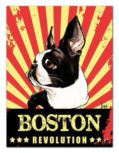 Revolution Boston Terrier Propaganda Print