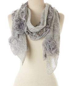 Look what I found on #zulily! Gray Ruffle Crochet Scarf by modern centers trade #zulilyfinds