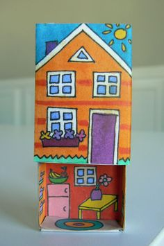 More elfin houses . for this one I drew floorplans that fit inside a matchbox. Printable coloring pages to make your own matchbox homes :-) She is amazing! Home Crafts, Diy And Crafts, Crafts For Kids, Arts And Crafts, Matchbox Crafts, Matchbox Art, Cardboard Box Crafts, Paper Crafts, Operation Christmas Child