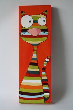 Toile pour enfant, petit chat rigolo, Acrylique de la boutique AteliersTaffetas sur Etsy