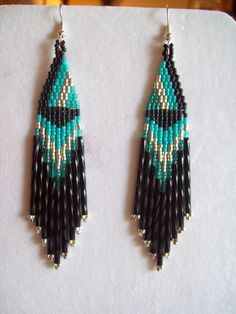 Native American Beaded Turquoise Black por BeadedCreationsetc, $18.00