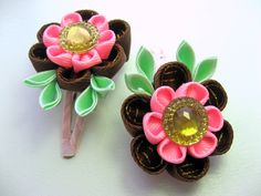 Set of 2 hair clips. Сhocolate and Bubble gum. por SummerForYou