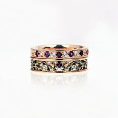 Amethyst engagement ring set, Filigree ring, white sapphire, rose gold engagement, white gold, purple, lace wedding, amethyst engagement