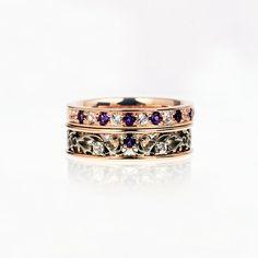 Amethyst engagement ring set, Filigree ring, white sapphire, rose gold engagement, white gold, purple, lace wedding, amethyst engagement on Etsy, $2,697.00