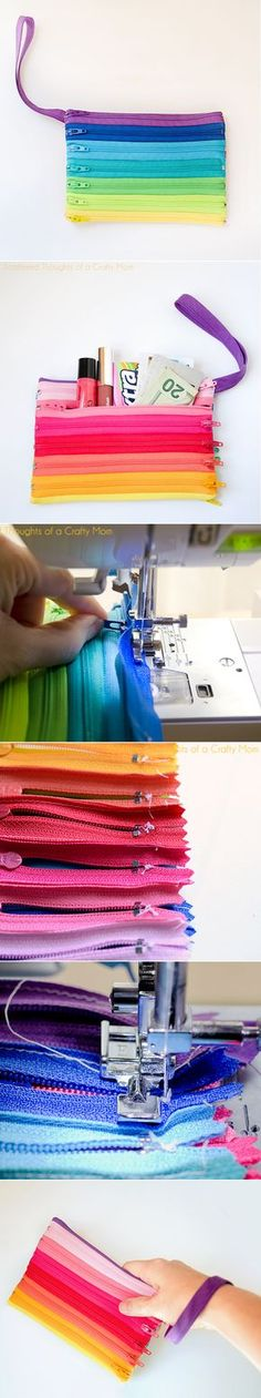 Rainbow Zipper Pouch Tutorial - Scattered Thoughts of a Crafty Mom * Click image for more details. Sewing Hacks, Sewing Tutorials, Sewing Patterns, Tutorial Sewing, Fabric Crafts, Sewing Crafts, Sewing Projects, Zipper Crafts, Diy Sac