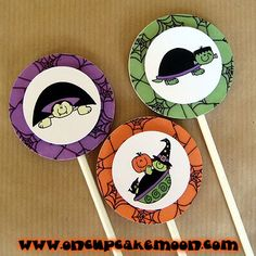 halloween turtle costume birthday party cupcake or cake toppers decorations - witch, vampire, and frankenstein frankenturtle. custom personalized - set of 12 handmade by OnCupcakeMoon