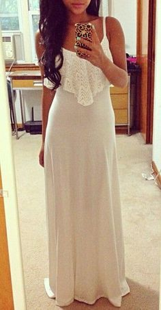 summer maxi dress - not a fan of white maxi dresses but if it was in a soft blue or green, would be an amazing dress. White Maxi Dresses, Pretty Dresses, Beautiful Dresses, Summer Dresses, Summer Maxi, Lace Maxi, Casual Dresses, Long Dresses, Lace Vest