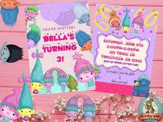 Trolls Invitation Trolls Birthday Trolls Birthday Personalized Invitations, Digital Invitations, Printable Party, Youre Invited, Decoration, Troll, Shopping, Business, Birthday