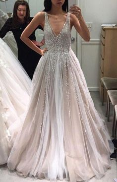 Tulle Deep V Neck Long Wedding Dresses Bridal Gown with Sleeveless - Wedding Gowns Platform Outdoor Wedding Dress, Sheer Wedding Dress, Long Wedding Dresses, Bridal Dresses, Tulle Wedding, Wedding Outfits, Ball Dresses, Ball Gowns, Prom Dresses