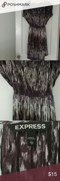 Express Hi-Lo Dress Pretty watercolor hi-lo dress. Excellent condition - wore in professional setting several times. Colors are purple, grey, white and taupe. Express Dresses High Low