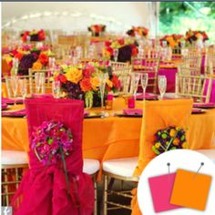 Love this!!! Orange and hot pink wedding reception.