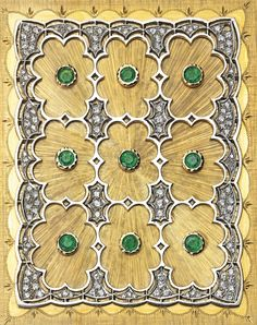 18 Karat Two-Color Gold, Emerald and Diamond Evening Bag and Accessories, Buccellati, Circa 1970
