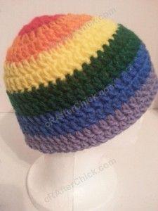 Rainbow Striped Beanie Hat Crochet Pattern for Teen Womens  Men sizes (5)