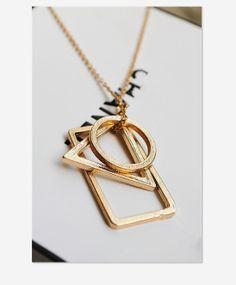Geometric Necklace Minimalist Golden Round Triangle by ILoveAnimal, $4.99
