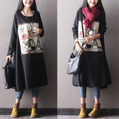 Woman long winter loose cotton linen dress - Buykud  -