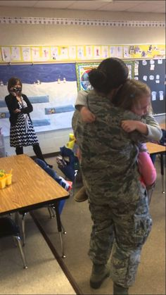 Airman Bernadette Parker surprised her daughter after coming home from military training. This is the only kind of distraction that is allowed in the classroom :)