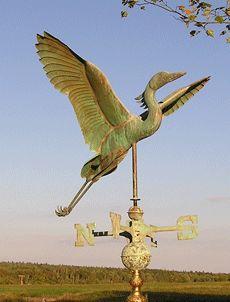 "Patina Copper ""Heron "" Weathervane Made in USA"