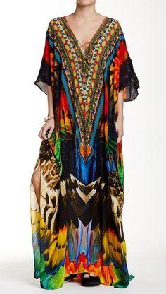 Embellished Printed Convertible Maxi Kaftan by Parides on Maxi Kaftan, Long Kaftan, Colorful Fashion, Boho Fashion, Punk Fashion, Lolita Fashion, Boho Outfits, Fashion Outfits, Black Kaftan