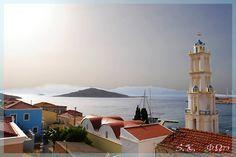 Chalki island, Dodecanese complex Image credit: Smaragda Kambouraki via skaikairos.gr Beautiful Islands, Beautiful Places, Karpathos, Medieval Castle, Greek Islands, Greece Travel, Crete, Towers, Landscapes