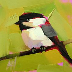 Chickadee no. 266 original bird oil painting by Moulton 5 x 5 inches on panel  prattcreekart