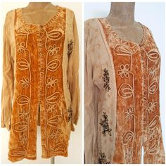 Embroidered Top Size Medium BOHO Gold Hippie Blouse Shirt Mini Dress India #Unbranded #ButtonDownShirt #Casual