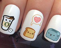 nail decals 336 kawaii cute breakfast toaster coffee toast by Nailiciousuk Nail Art Set, Cute Nail Art, Cute Acrylic Nails, Cute Nails, Food Nail Art, Girls Nail Designs, Nail Art Designs, Kawaii Nail Art, Anime Nails