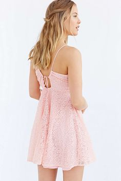 Love Sadie Lace Drawstring Halter Dress - Urban Outfitters