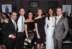 "Meghan Markle and Sarah Rafferty Photos Photos - (L-R) Rick Hoffman, Patrick J. Adams, Meghan Markle, Sarah Rafferty, Gina Torres and Gabriel Macht of Suits attend USA Network and Mr Porter.com Present ""A Suits Story"" on June 12, 2012 in New York, United States. - USA Network and Mr Porter.com Present ""A Suits Story"""