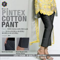 Trousers & Pants Trendy Cotton Women's Pant  *Fabric* Cotton  *Size* L - 32 in, XL - 34 in, XXL -36 in, 3XL - 38 in, 4XL - Up To 40 in To 42 in  *Length* Up To 36 in  *Type* Stitched  *Description* It Has 1 Piece Of Women's Pant  *Work* Beads Work  *Sizes Available* L, XL, XXL, XXXL, 4XL *    Catalog Name: Jivika Pretty Cotton Women's Pants CatalogID_129835 C79-SC1034 Code: 574-1063129-