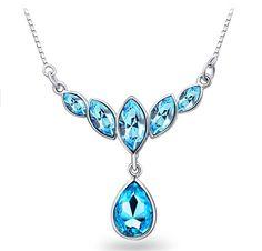 Fashion Female Jewelry Austrian Crystal Choker Flower Petals 18K Gold/Silver Plated Drop Pendant Clavicle Necklace Women CJC62