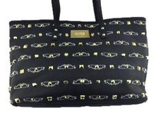Betsey Johnson Body 100% Poly Urethane 100% Polyester Flower Lining Tote Bag Gold Plated Studs