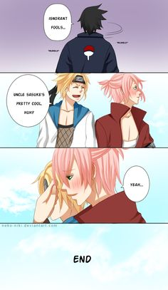 Ahh~ NaruHina + SasuSaku children ...I really want a pink-haired Uchiha son, okay?? ;A; I actually had a little story in my head while I was drawing him. XD I was thinking he'd be the only son born...
