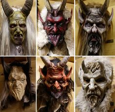 The combination photo shows traditional wooden Perchten masks in the factory of wood carver Hansi Schwabl in Inzell, southern Germany, Thursday, Nov. 27, 201...