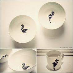 Porzellanmalerei im Tangram-Design