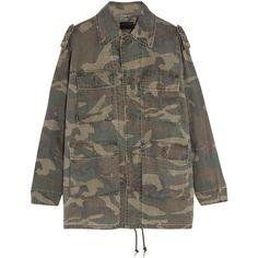 Saint Laurent Camouflage-print ramie jacket (3,440 BAM) ❤ liked on Polyvore featuring outerwear, jackets, sweatter, coats & jackets, saint laurent, army green, olive jacket, camo print jacket, grunge jacket and yves saint laurent