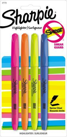 Sharpie Pocket Highlighters, 4-Pack | Walmart.ca