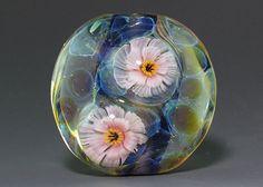 Handmade Lampwork focal silver glass flower by ikuyoglassart, $40.00