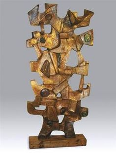 Copper & Glass Sculpture; Falkenstein (Claire McCarthy), initialed 1972, Abstract, Untitled, 87 inch.