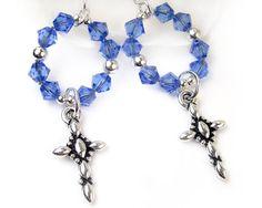 Elegant Silver #Cross #Earrings with #Sapphire Swarovski #Crystals - by #PrettyGonzo #Handmade #Jewelry - #Etsy #GiftIdeas #Religious