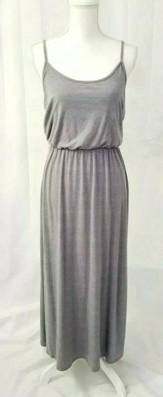 2167b95164f Details about Mossimo Maxi Dress Sleeveless Stretch Jersey Womens Size  Medium Strappy Gray