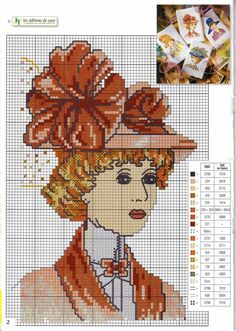 0 point de croix portrait femme chapeau- cross stitch portrait lady with hat