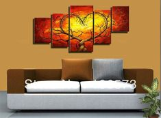Red Yellow Couple Lovers Heart Tree Art Canvas Painting Oil Cheap Wall Art Decor Room Pictures Modern Abstract 5 Piece Sets US $53.00