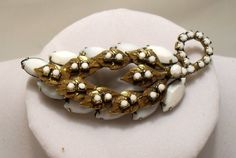 """Beautiful Vintage 1940.s White Glass & Brass leaf shaped Brooch 3""""x1 1/8"""" SOLD"""