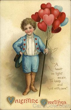 Boy in Blue Delivering Heart Balloon Bouquet Series 3004 Valentine Greetings: A heart as light as air, to keep and hold with care