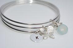 Pulsera de plata inicial, personalizada Bangl pulsera, pulsera de orquídea, calcedonia azul Aqua, brazalete establece, joyería de la boda, regalo de Dama de honor